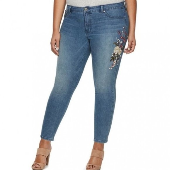 Jennifer Lopez Denim - Jennifer Lopez Jeans Embroidered Floral Skinny 16